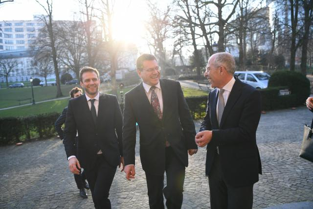 from left to right Kristian Ruby Secretary - general of Eurelectric, Maroš Šefčovič - Vice president of the European Commission (in charge of the Energy Union), Francesco Starace President of Eulectric